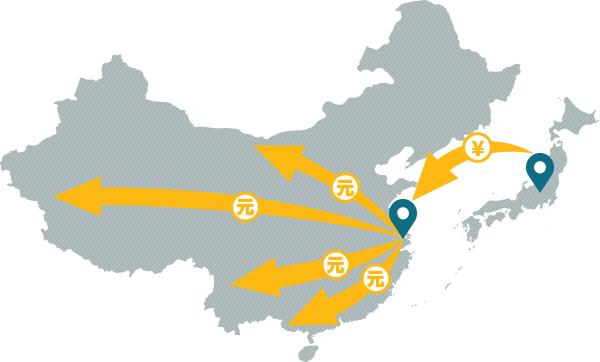 日本から中国へスピード送金イメージ図