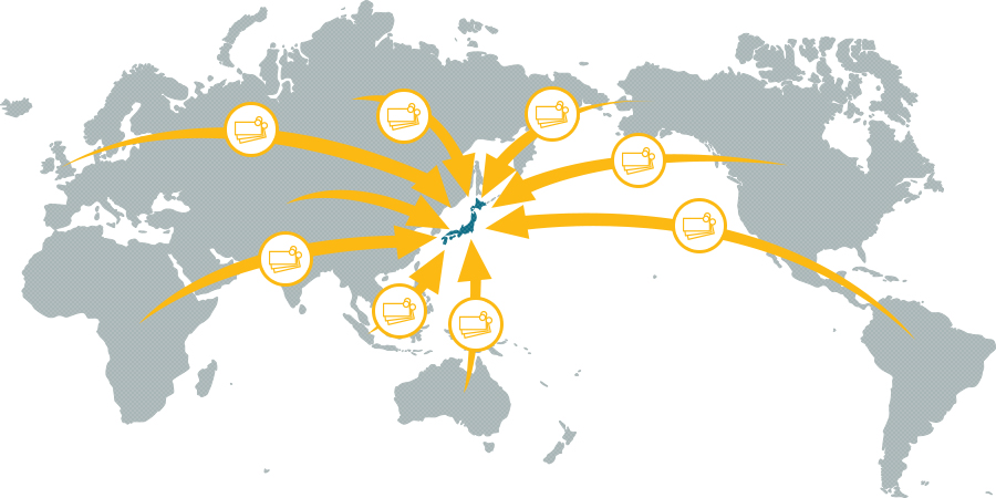 日本国内ほぼすべての銀行へ送金可能イメージ図